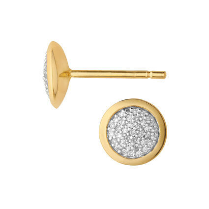 Diamond Essentials 18ct Yellow Gold Vermeil & Pave Round Stud Earrings, , hires