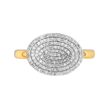 Concave 18K Yellow Gold Vermeil & Diamond Ring, , hires