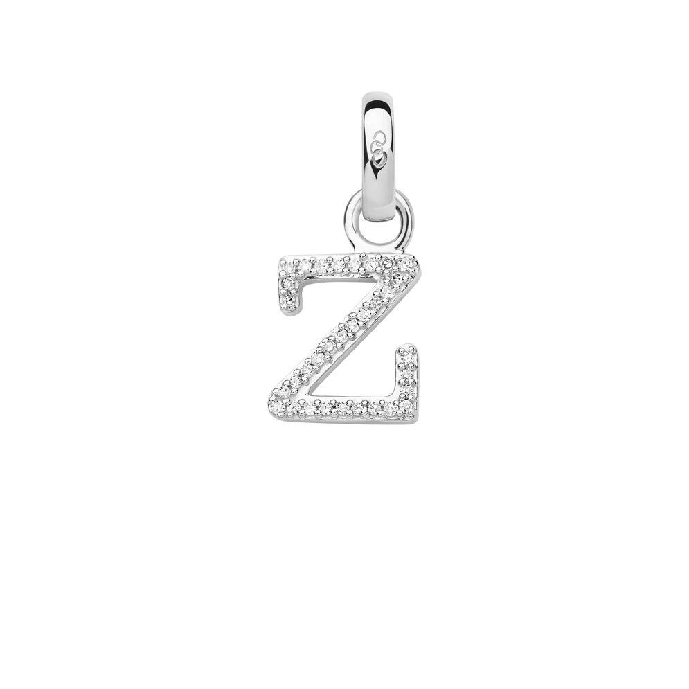 Sterling Silver & Diamond Z Alphabet Charm, , hires
