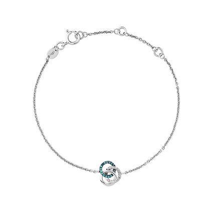 Treasured Sterling Silver, White & Blue Diamond Bracelet, , hires