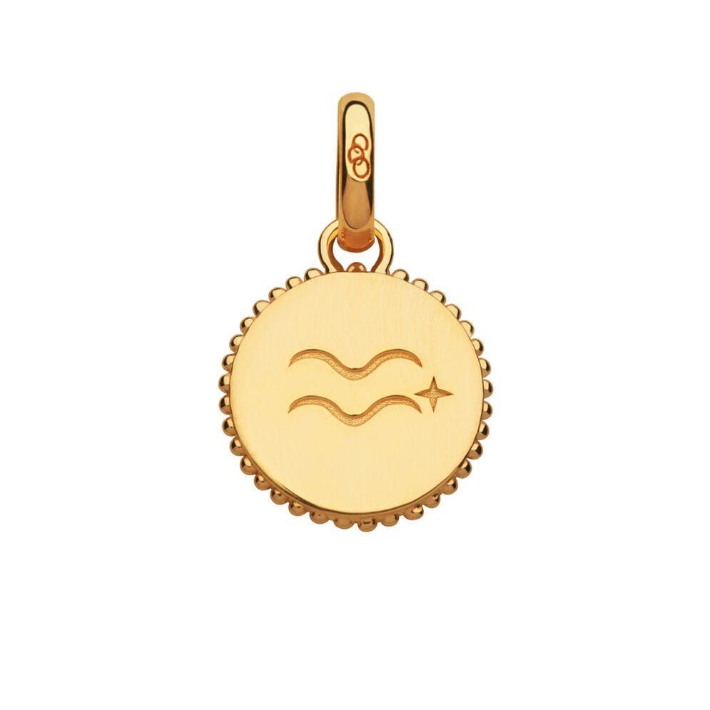 18kt Yellow Gold Vermeil Aquarius Zodiac Charm, , hires