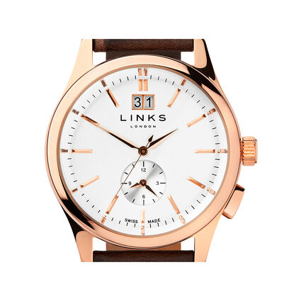 Regent Mens Rose Gold Plate & Chocolate Leather Watch, , hires