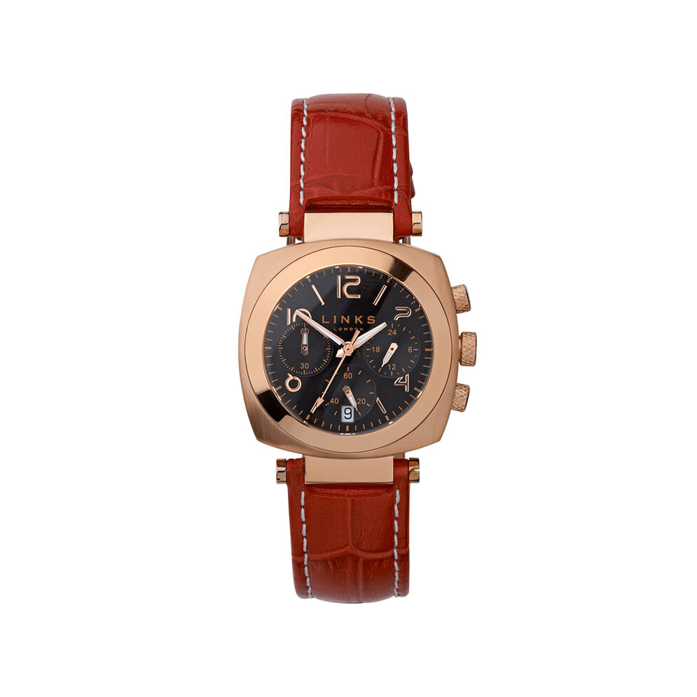 Brompton Womens Black Dial & Red Leather Chronograph Watch, , hires