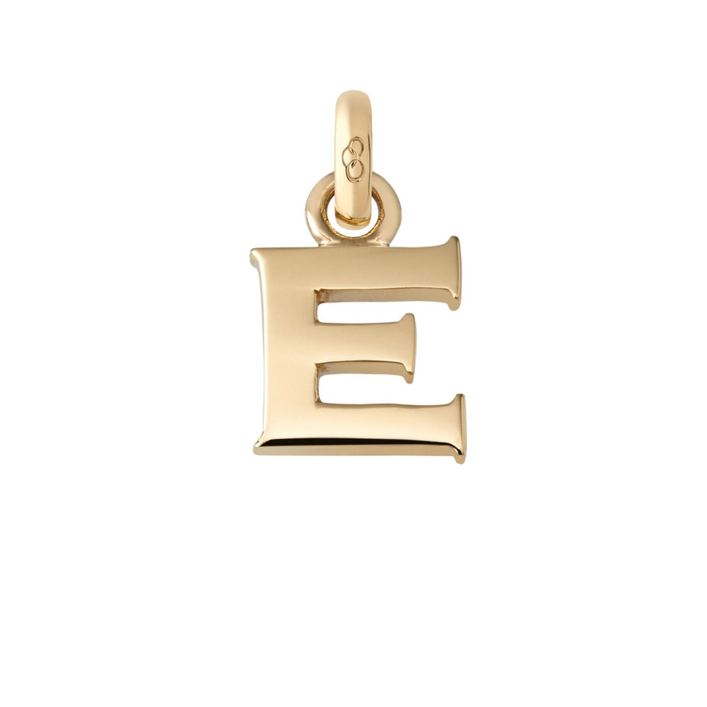 18ct Yellow Gold E Charm, , hires