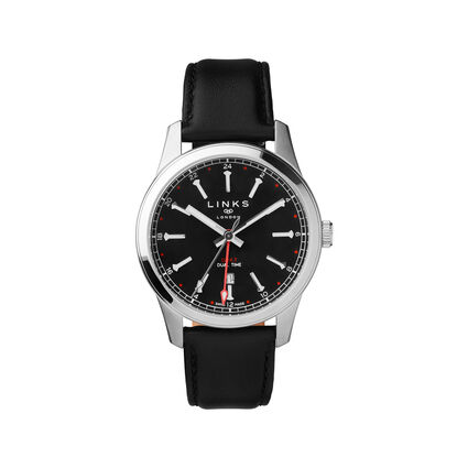 Greenwich GMT Mens Stainless Steel Black Dial & Black Leather Watch, , hires