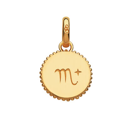18ct Yellow Gold Vermeil Scorpio Zodiac Charm, , hires