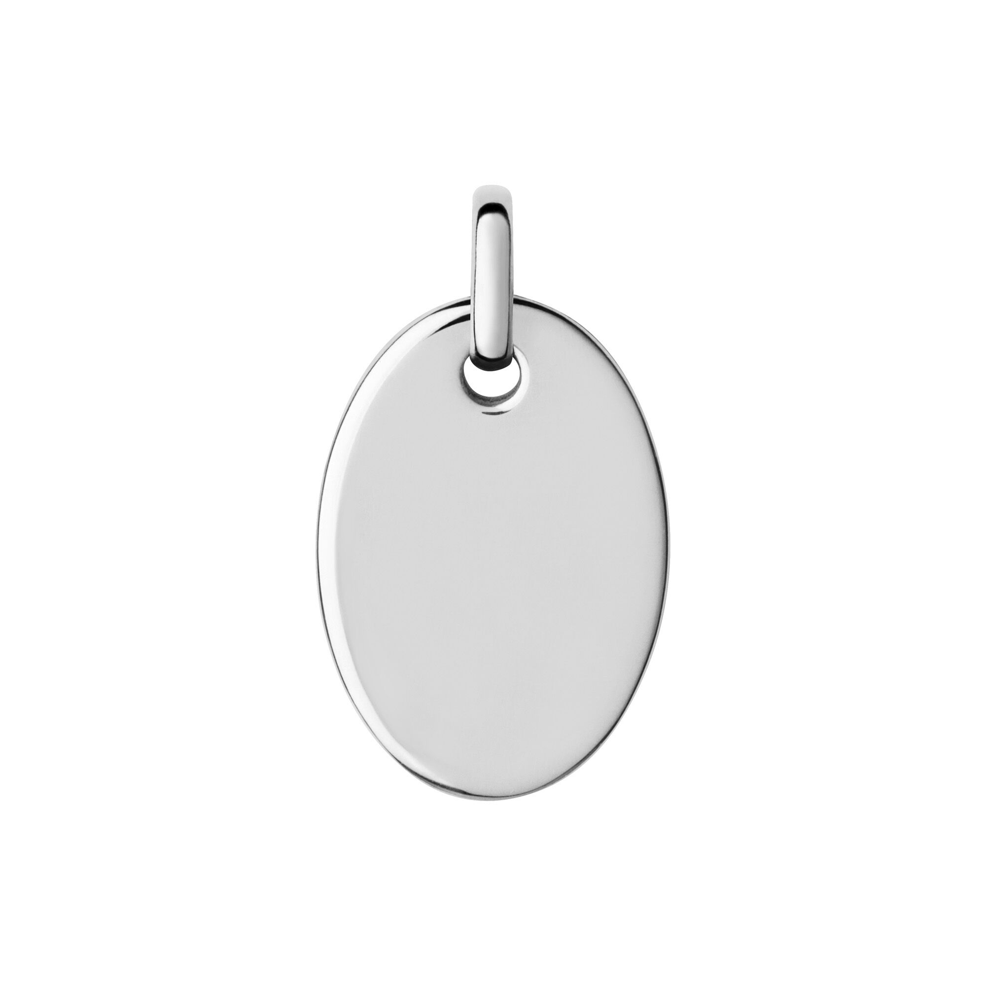 Disk Silvers: Narrative Silver Small Oval Disc Pendant