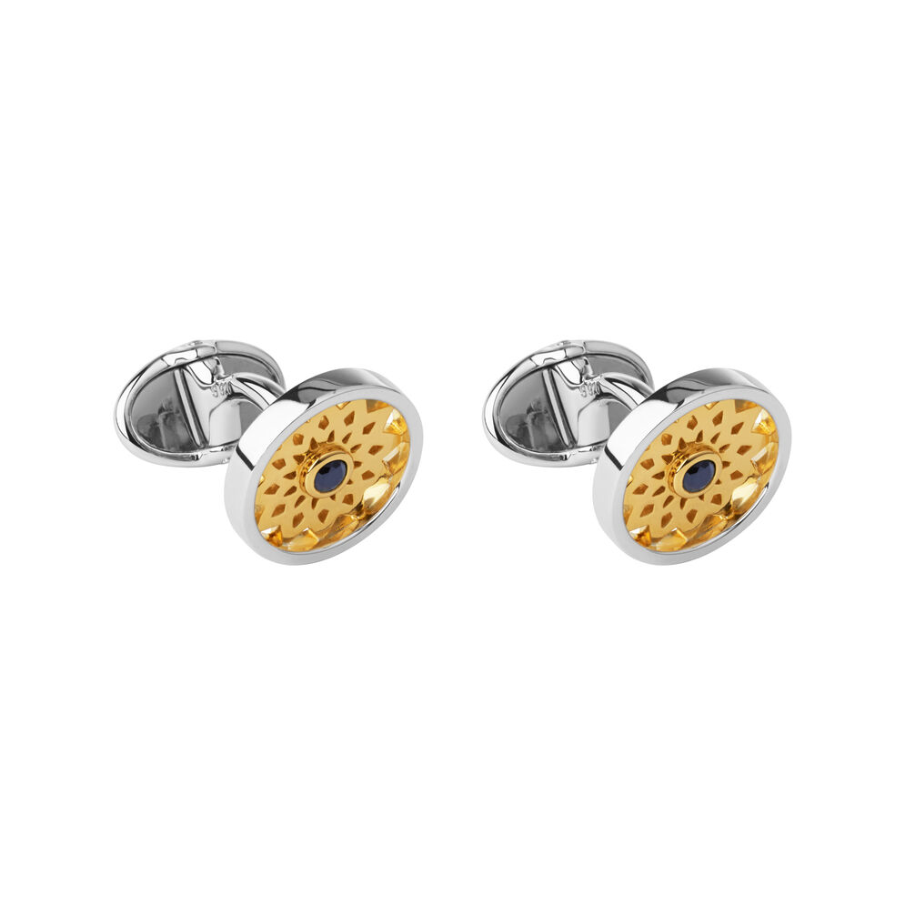 Timeless Sterling Silver, 18kt Yellow Gold Vermeil & Onyx Cufflinks, , hires