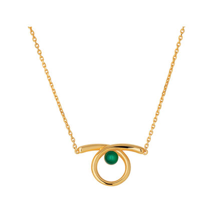 Serpentine 18kt Yellow Gold Vermeil & Green Chalcedony Gemstone Necklace, , hires