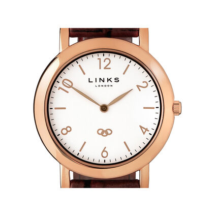 Noble Slim Rose Gold Plate & Brown Leather Watch, , hires