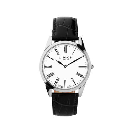 Noble Mens Slim Stainless Steel Black Leather Watch, , hires
