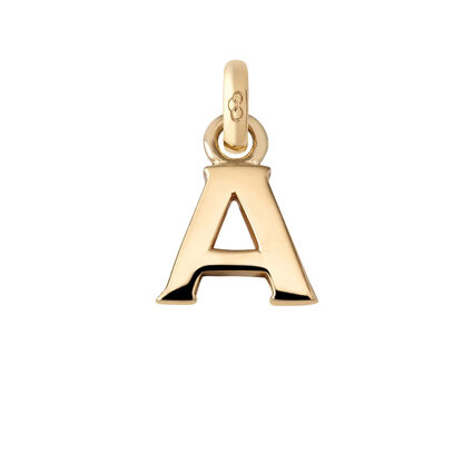 18kt Yellow Gold A Charm, , hires