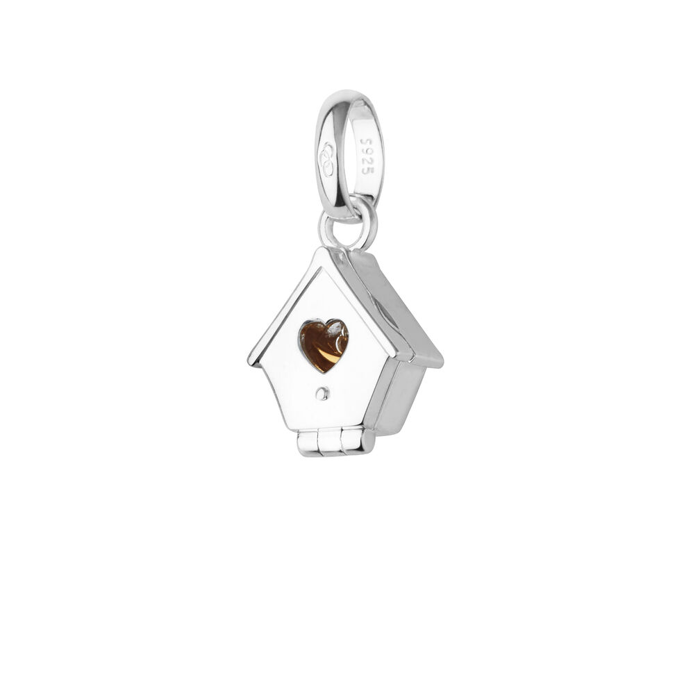 Sterling Silver & 18kt Gold Vermeil Bird House Charm, , hires