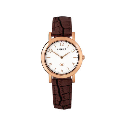 Noble Women's Slim Rose Gold & Brown Leather Strap Watch, , hires