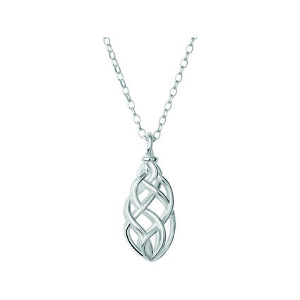 Sterling Silver Small Pendant Woven Necklace, , hires