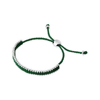 Sterling Silver & Emerald Green Mini Friendship Bracelet, , hires