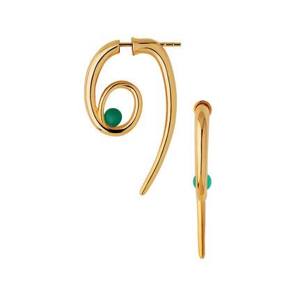 Serpentine 18kt Yellow Gold Vermeil & Green Chalcedony Gemstone Spiral Earrings, , hires