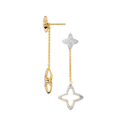 Splendour 18kt Yellow Gold Vermeil & Diamond Four-Point Star Long Drop Earrings, , hires