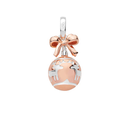 Sterling Silver & 18K Rose Gold Vermeil Reindeer Bauble Charm, , hires