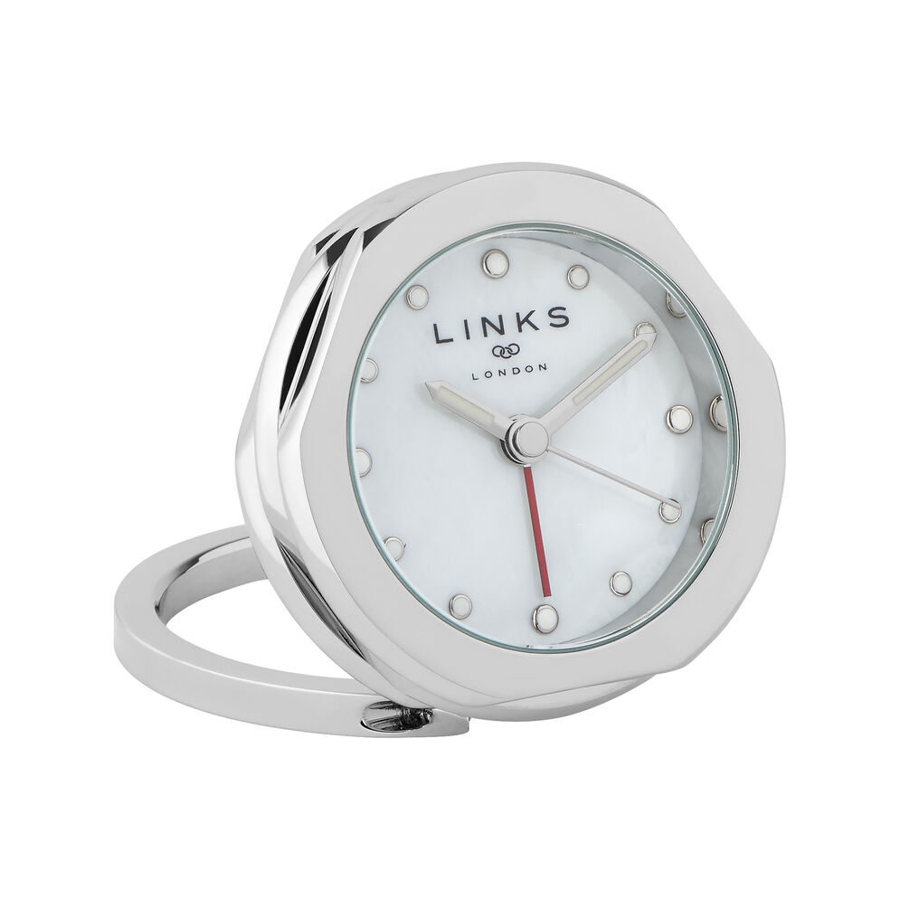 20/20 Stainless Steel Silver White Dial Alarm Clock, , hires