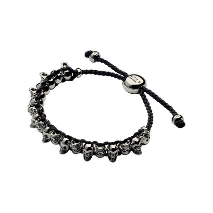 Ruthenium & Black Cord Skull Friendship Bracelet, , hires