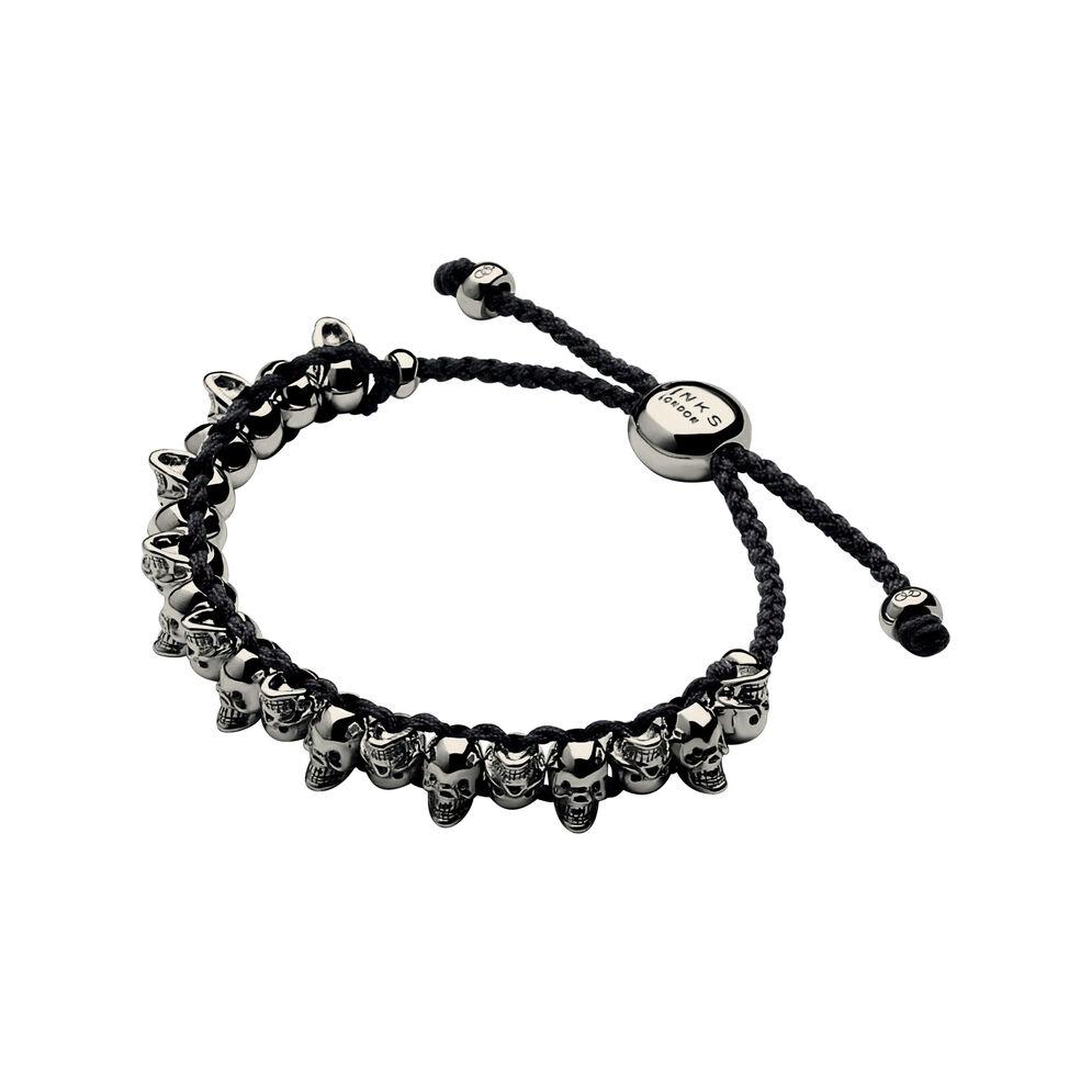 Ruthenium & Black Cord Skull Friendship Bracelet, , hires