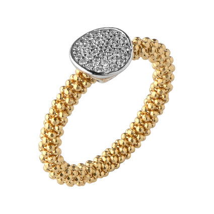 Star Dust Yellow Gold Round Ring, , hires