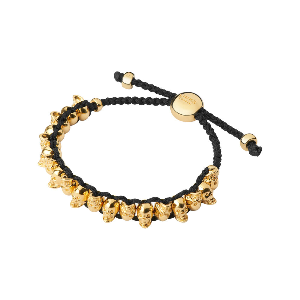18kt Yellow Gold Vermeil Skull Friendship Bracelet, , hires