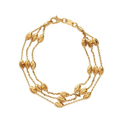 Essentials 18K Yellow Gold Vermeil Beaded Chain 3 Row Bracelet, , hires