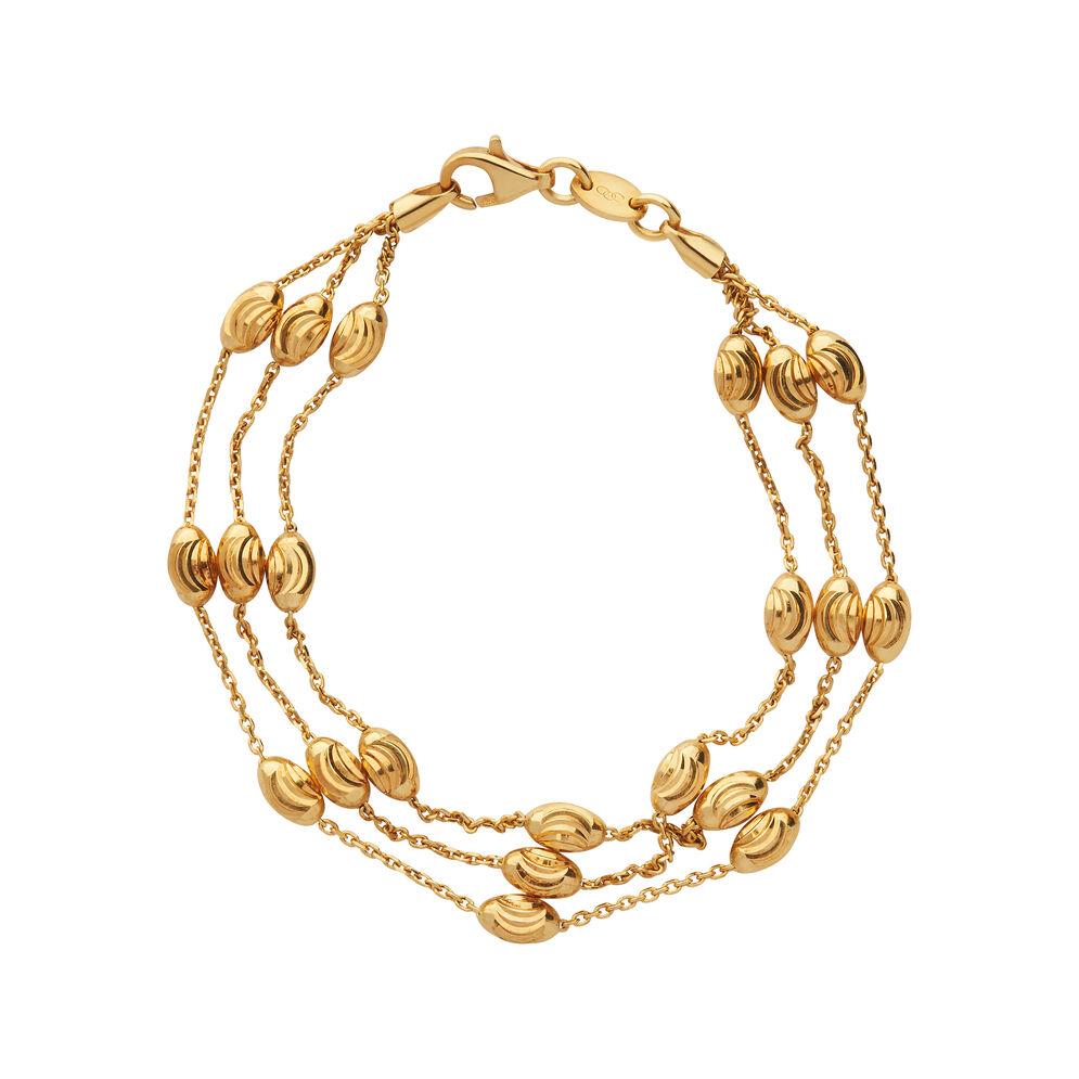 Essentials 18kt Yellow Gold Vermeil Beaded Chain 3 Row Bracelet, , hires