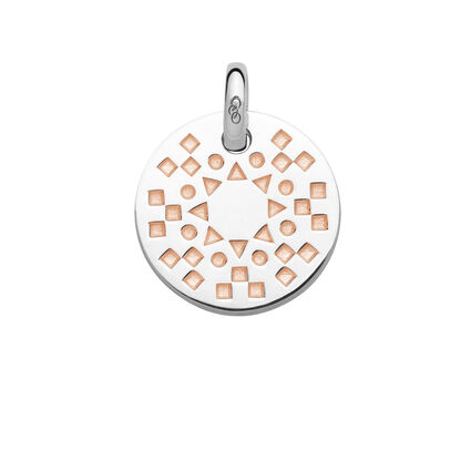 Ascot Narrative Sterling Silver & 18kt Rose Gold Vermeil Small Pendant, , hires