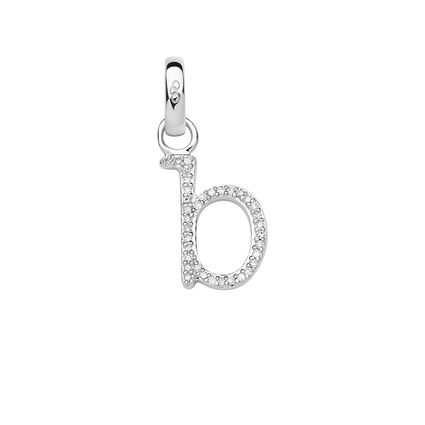 Sterling Silver & Diamond B Alphabet Charm, , hires