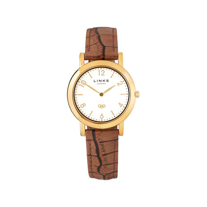 Noble Slim Yellow Gold Plate & Brown Leather Strap Women's Watch, , hires