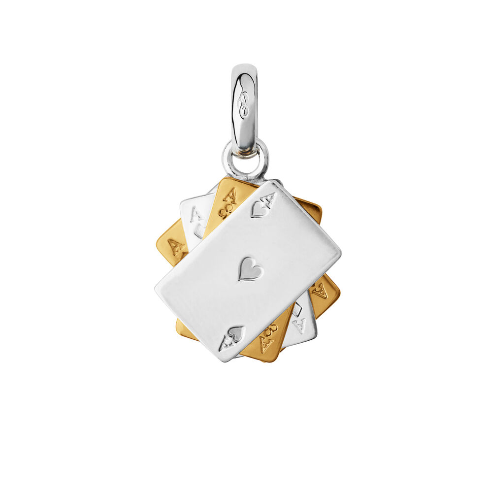 Sterling Silver & 18kt Yellow Gold Vermeil Poker Cards Charm, , hires