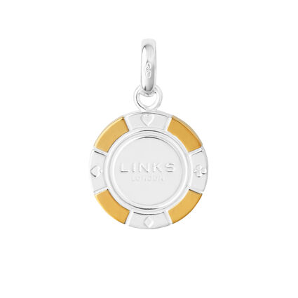 Sterling Silver & 18K Yellow Gold Vermeil Poker Chip Charm, , hires