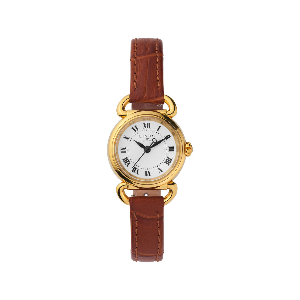 Driver Mini Round Gold Plate & Brown Leather Watch, , hires