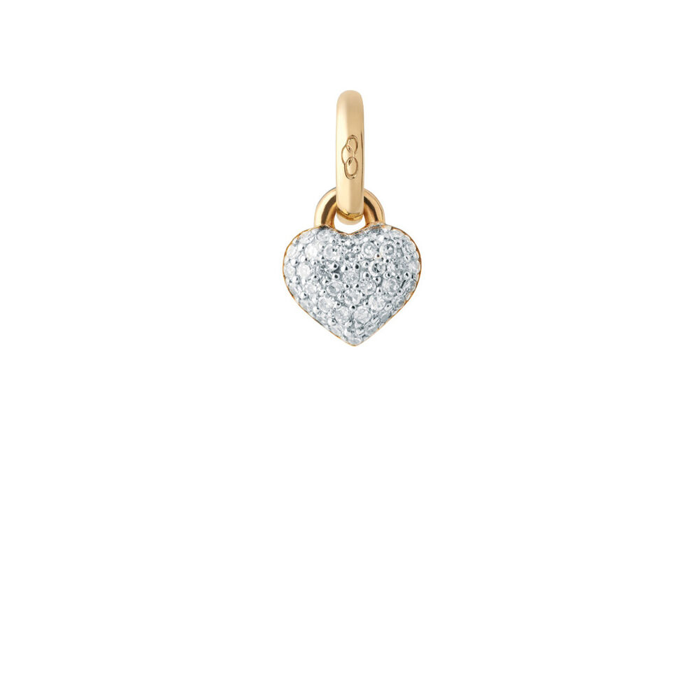 18kt Yellow Gold & Diamond Pave Mini Heart Charm, , hires
