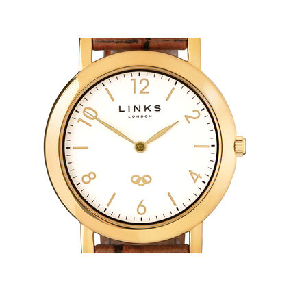 Noble Slim Yellow Gold Plate & Brown Leather Watch, , hires