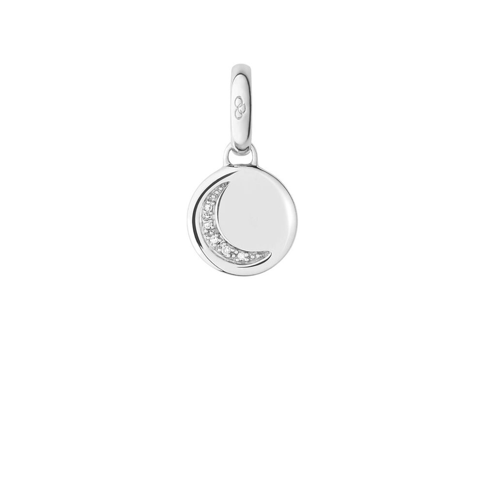 Sterling Silver Crescent Moon Disc Charm, , hires