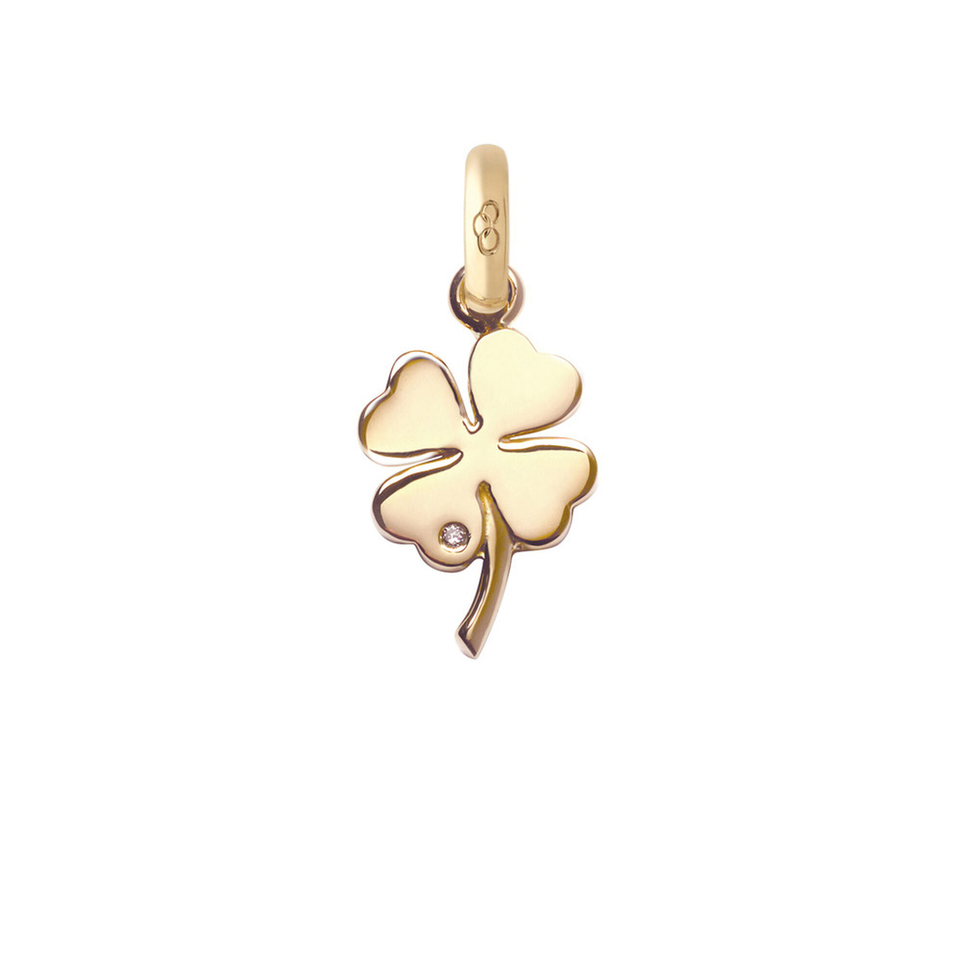 Yellow gold and diamond four leaf clover charm 18kt yellow gold and diamond four leaf clover charm hires mozeypictures Image collections