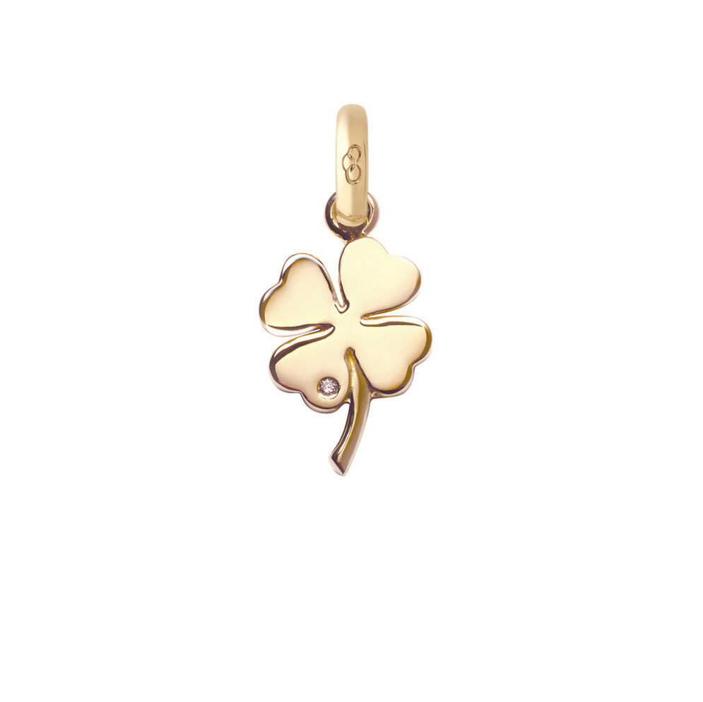 18kt Yellow Gold and Diamond Four Leaf Clover Charm, , hires