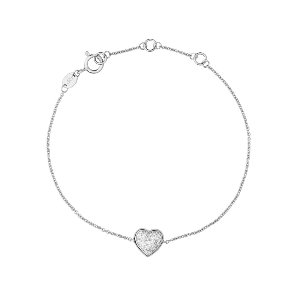 Diamond Essentials Sterling Silver & Pave Heart Bracelet, , hires