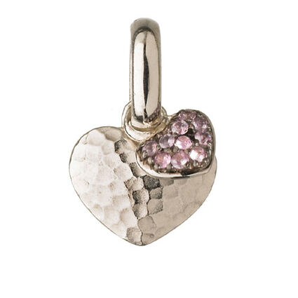 Pink Sapphire Double Heart Charm, , hires