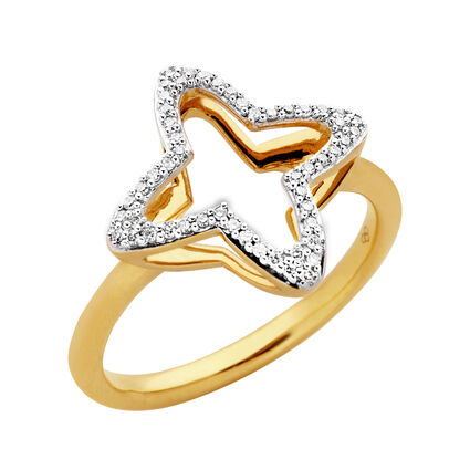 Splendour 18kt Yellow Gold Vermeil & Diamond Open Four-Point Star Ring, , hires