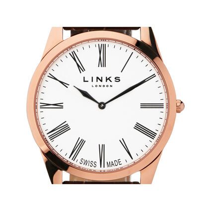 Noble Mens Slim Rose Gold Plated Brown Leather Watch, , hires