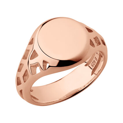 Timeless 18kt Rose Gold Vermeil Signet Ring, , hires