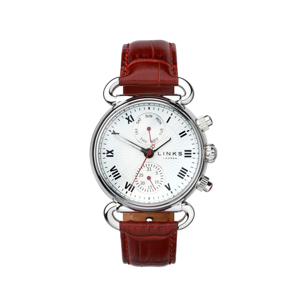 Driver DD Stainless Steel & Burgundy Leather Watch, , hires