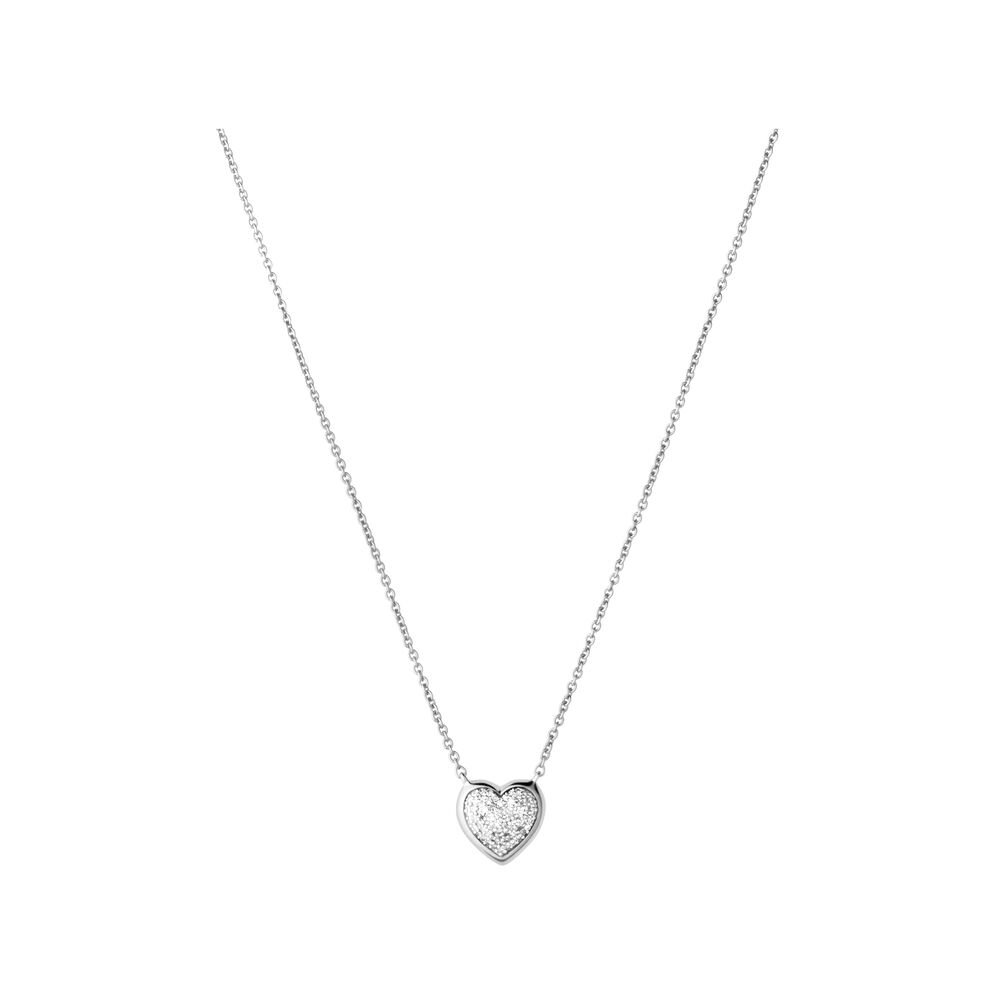 Diamond Essentials Sterling Silver & Pave Heart Necklace, , hires