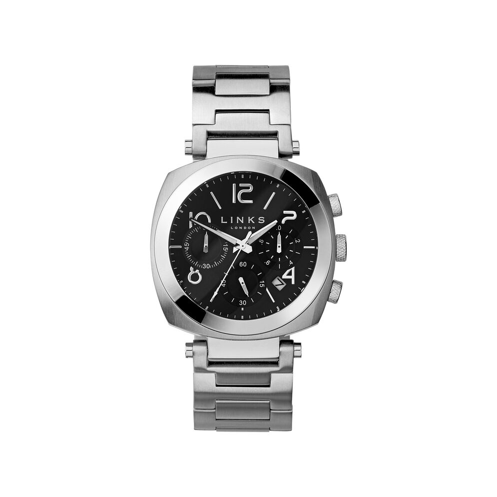 Brompton Mens Stainless Steel Black Dial Chronograph Bracelet Watch, , hires