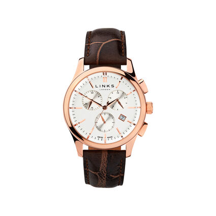 Regent Mens Rose Gold Plate & Chocolate Leather Chronograph Watch, , hires
